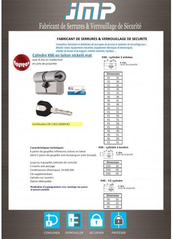 Serrure sécurité K66B Cylindre à bouton anti-bumping avec carte de propriété A2P - Plan Technique 1