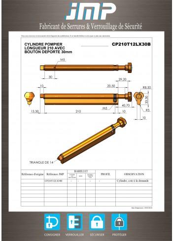 Cylindre serrure CP LG210 avec bouton deporté 30MM - Plan Technique