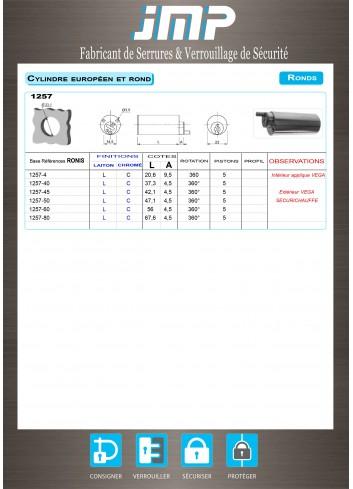 Cylindre serrure 1257-40,45,50,60,70,80 Sécurichauffe-Vega - Plan Technique