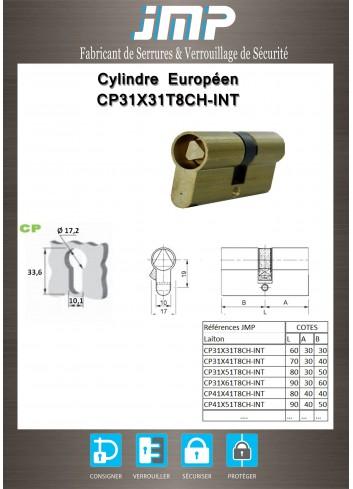 Cylindre Européen CP31X31T8CH-INT de 9 protégé - Plan Technique