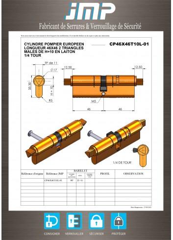 Cylindre Européen CP46X46T10L-01 triangle pompier de 11 - Plan Technique