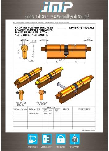 Cylindre Européen CP46X46T10L-02 triangle pompier de 11 - Plan Technique