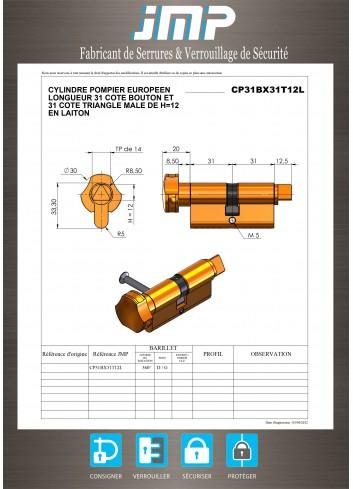 Cylindre Européen CP31BX31T12L triangle pompier de 14 - Plan Technique
