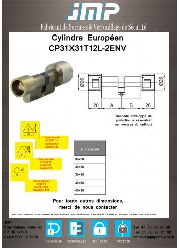 Cylindre Européen CP31X31T12L-2ENV triangle pompier de 14 protégé des 2 côtés - Plan Technique