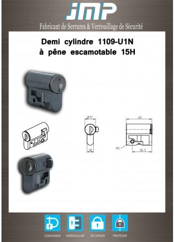 Demi cylindre 1109-U1N à pêne escamotable 15h - Plan Technique