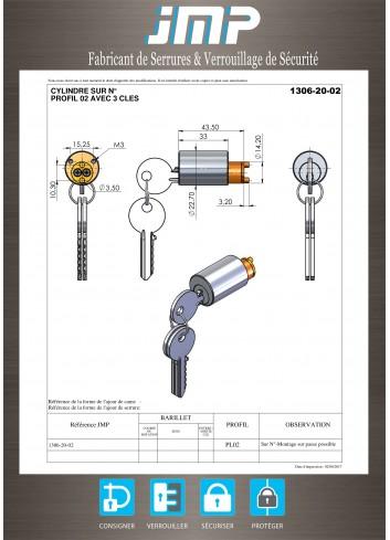 Serrure cylindre rond 1306-20 ø22,7 / L43,5 - Plan Technique
