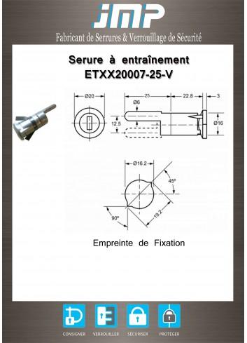 Serrure à entraînement clipsable ETXX20007-25-V pour meuble - Plan Technique
