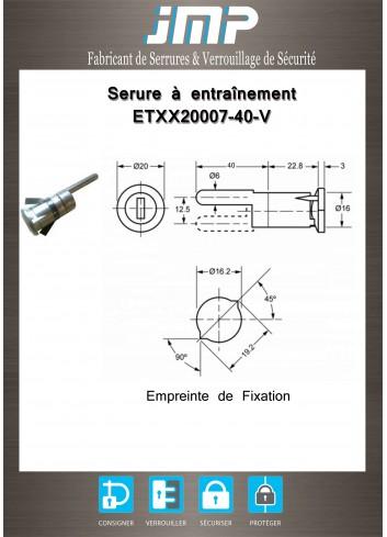 Serrure à entraînement clipsable ETXX20007-40-V pour meuble - Plan Technique