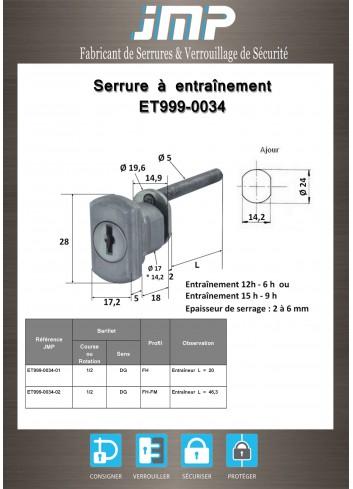 Serrure à entraînement ET999-0034 pour meuble - Plan Technique