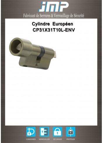 Cylindre Européen CP31X31T10L-ENV triangle pompier de 11 protégé - Plan Technique