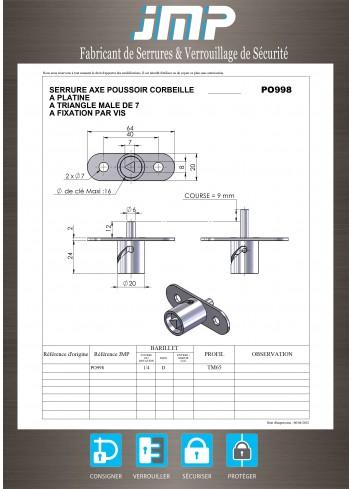 Serrure à poussoir PO998 - Plan Technique