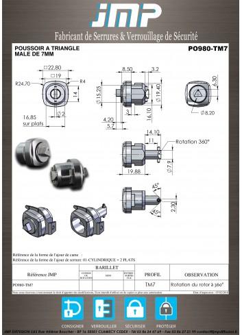 Serrure à poussoir PO980 à Triangle Mâle de 7 - Plan Technique