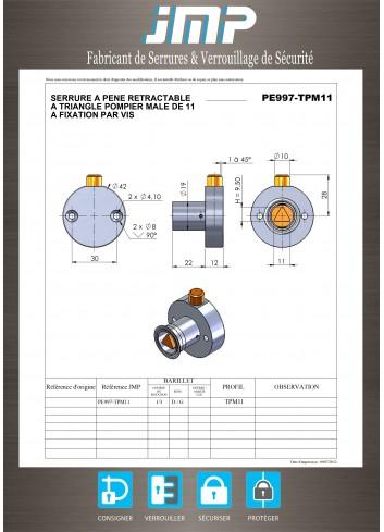 Serrure à pêne rétractable rond escamotable PE997-TPM11 Triangle mâle de 11 - Plan Technique