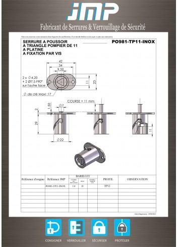 Serrure à poussoir PO981-TP11-INOX triangle de 11 pour corbeilles - Plan Technique