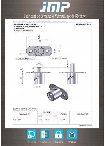 Serrure à poussoir PO981-TP14-POMPIER - Plan Technique