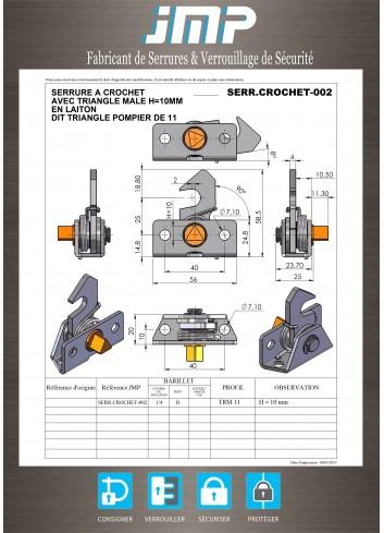 Serrure crochet SERR.CROCHET-002 rappel triangle mâle de 11 lg23,70mm - Plan Technique