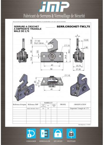 Serrure rappel à crochet SERR-CROCHET-TM3,75 triangle mâle de 3,75 - Plan Technique