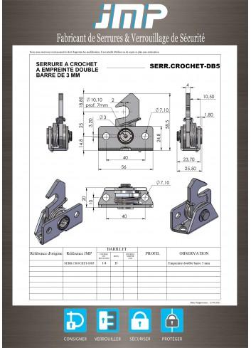 Serrure automatique à rappel à crochet SERR-CROCHET-DB5 - Plan Technique
