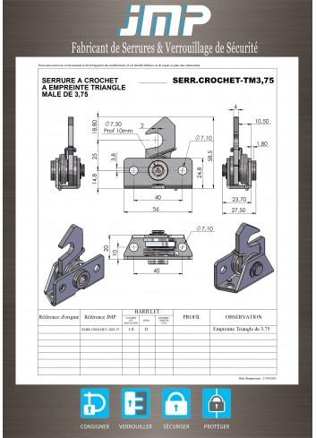 Serrure rappel à crochet TM3,75 triangle mâle de 3,75 lg23,70mm - Plan Technique