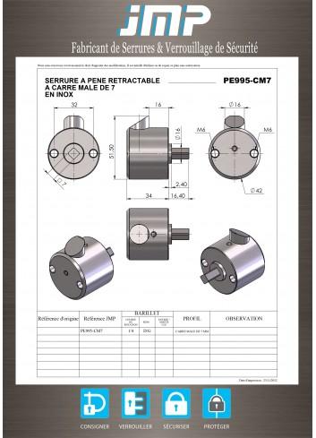 Serrure à claquer automatique PE995-CM7 à pêne rétractable - carré mâle de 7 en inox - Plan Technique