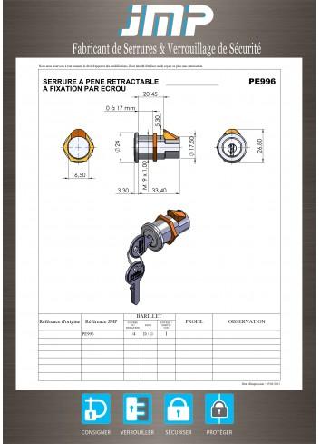 Serrure à pêne escamotable PE996 - Plan Technique