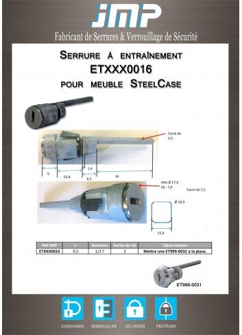 Serrure à entraînement ETXXX0016 pour meubles SteelCase - Plan Technique