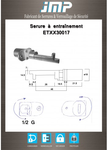 Serrure à entraînement Huwil ETXX30017 avec ergot pour meuble - Plan Technique