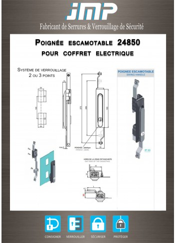 Poignée escamotable 24850 pour coffret electrique - Plan Technique