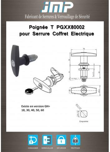 Poignée T PGXX80002 pour serrure coffret électrique - Plan Technique