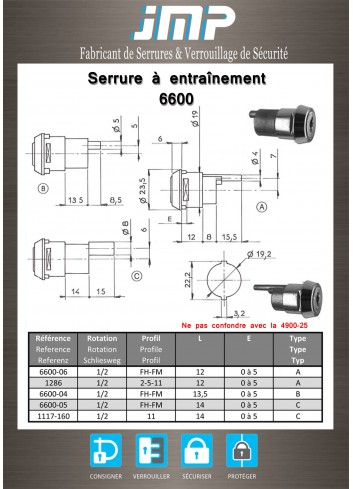 Serrure à entraînement 6600-06 pour meuble - Plan Technique