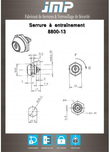 Serrure à entraînement pour meuble 8800-13 par méplat de 8 X 2,5 - Plan Technique