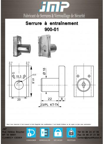Serrure à entraînement pour meuble 900-01 - Plan Technique