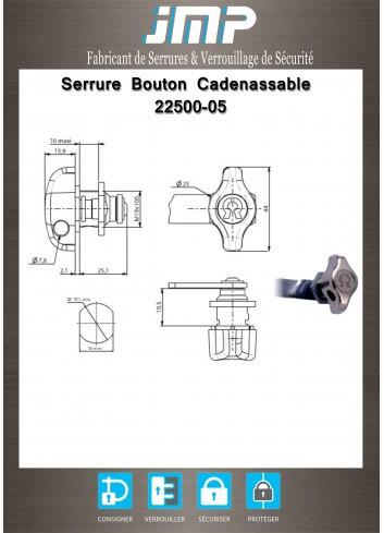 Bouton cadenassable 22500-05 fixation fourchette - Plan Technique