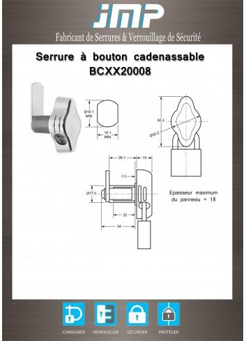 Serrure à bouton cadenassable BCXX20008 - Plan Technique