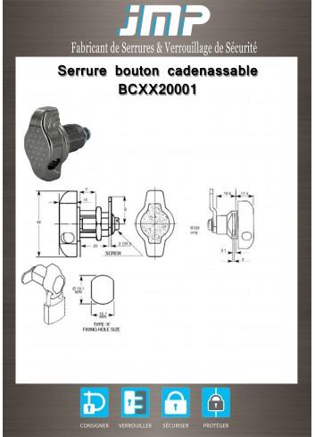 Serrure bouton cadenassable BCXX20001 - Plan Technique