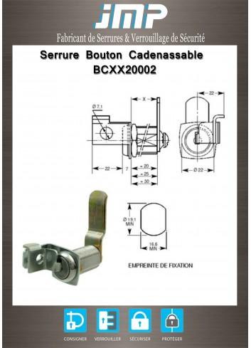 Serrure bouton cadenassables BCXX20002 - Plan Technique
