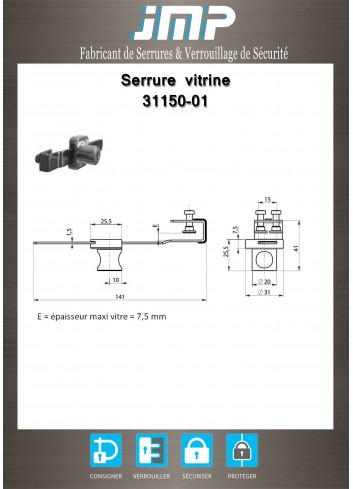 Serrure vitrine 31150-01 - Plan Technique