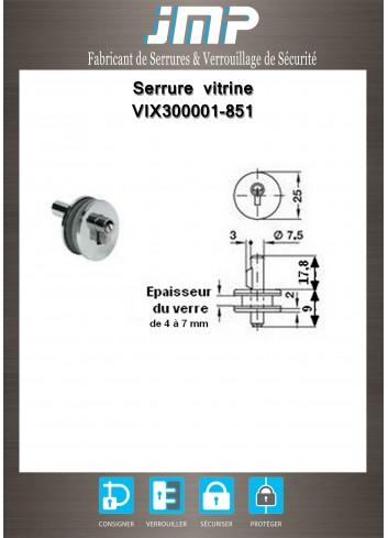 Serrure vitrine VIX300001-851 a cylindre pour porte en verre - Plan Technique