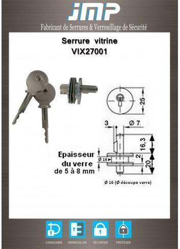 Serrure vitrine VIX27001 à cylindre pour porte en verre - Plan Technique
