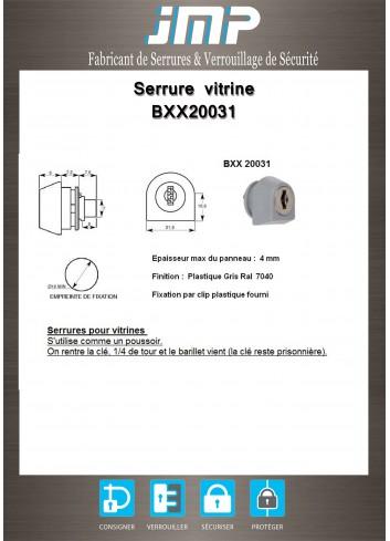 Serrure vitrine BXX20031 - Plan Technique