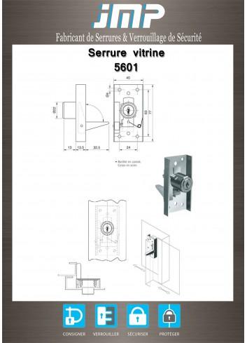 Serrure vitrine 5601 pour portes coulissantes - Plan Technique