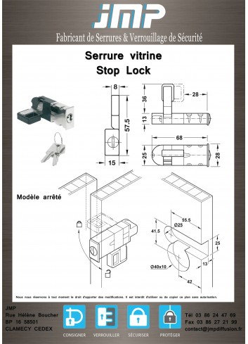Serrure vitrine Stop Lock - Plan Technique