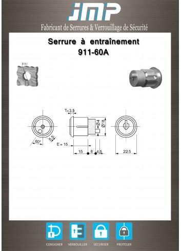 Serrure à entraînement pour meuble 911-60A - Plan Technique