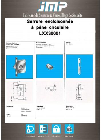Serrure encloisonée LXX30001 - Plan Technique