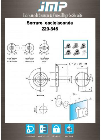 Serrure encloisonée 220-346 tiroir - Plan Technique