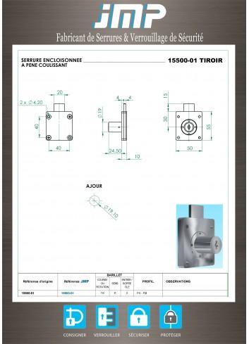 Serrure encloisonnée 15500-01 tiroir - Plan Technique