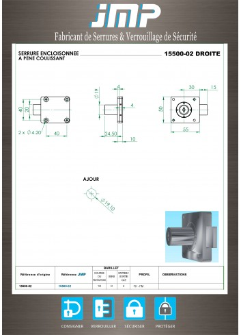 Serrure encloisonnée 15500-02 droite - Plan Technique