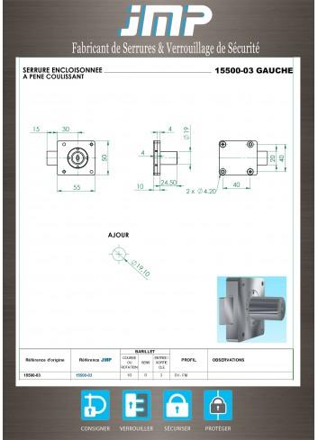 Serrure encloisonnée 15500-03 gauche - Plan Technique