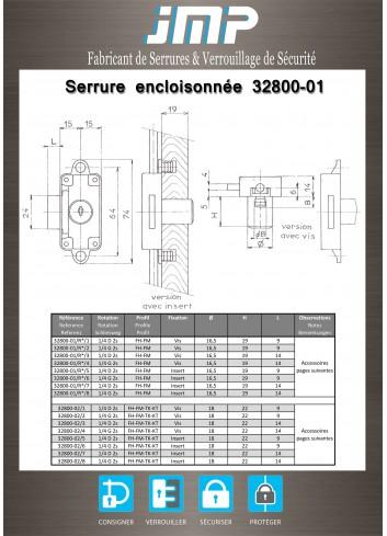 Serrure encloisonnée 32800-01 porte droite Ø 16,5 - Plan Technique