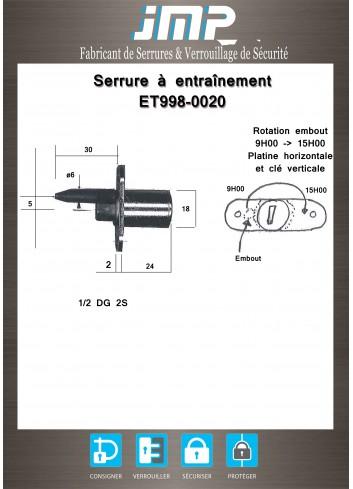 Serrure à entraînement ET998-0020 pour meuble - Plan Technique